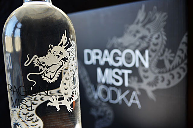 Dragon Mist Vodka bottle and case packaging