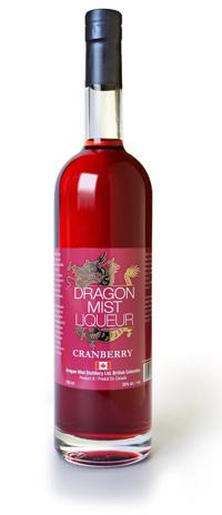 cranberry liqueur from Dragon Mist Distillery