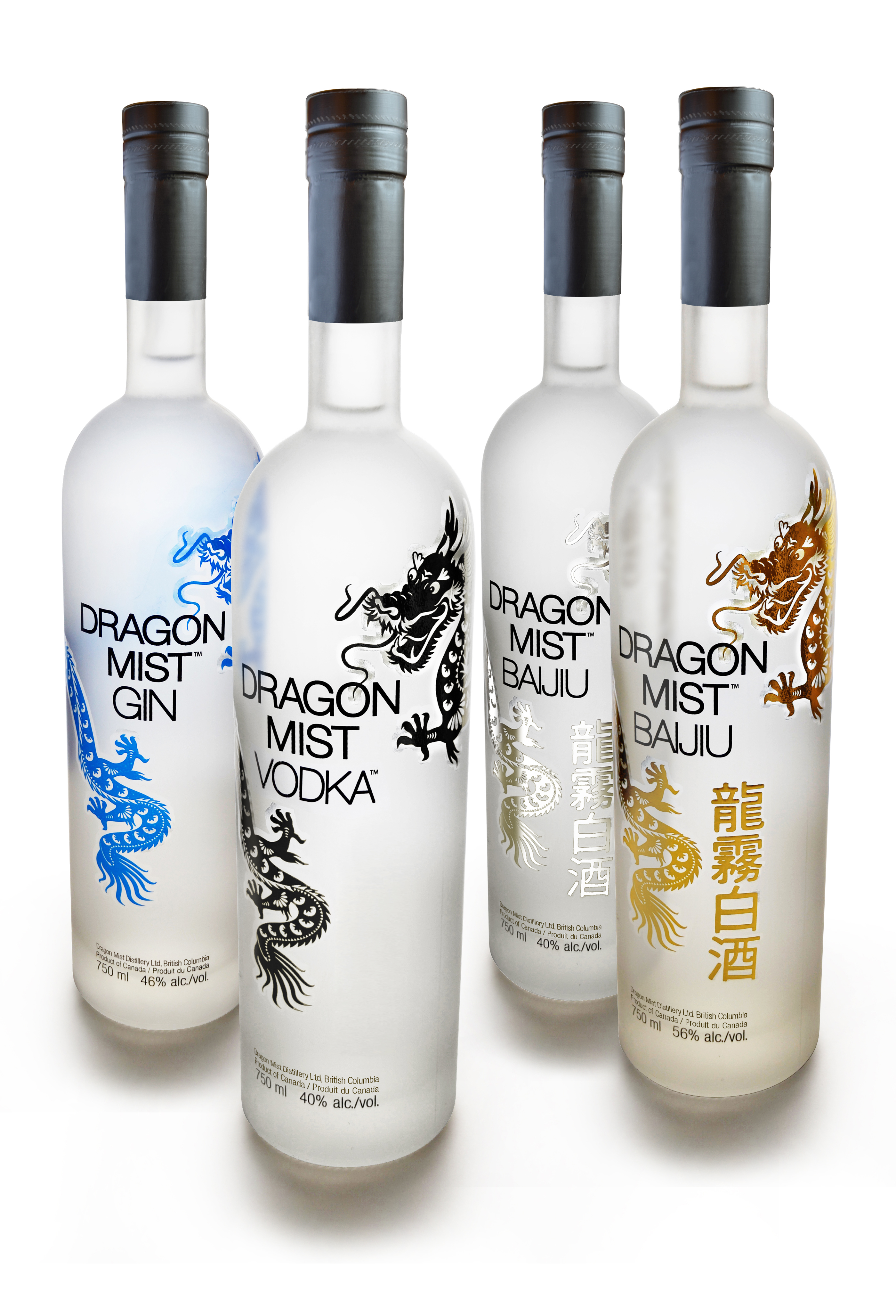 Dragon Mist Gin, Vodka, and Baijiu bottles combined