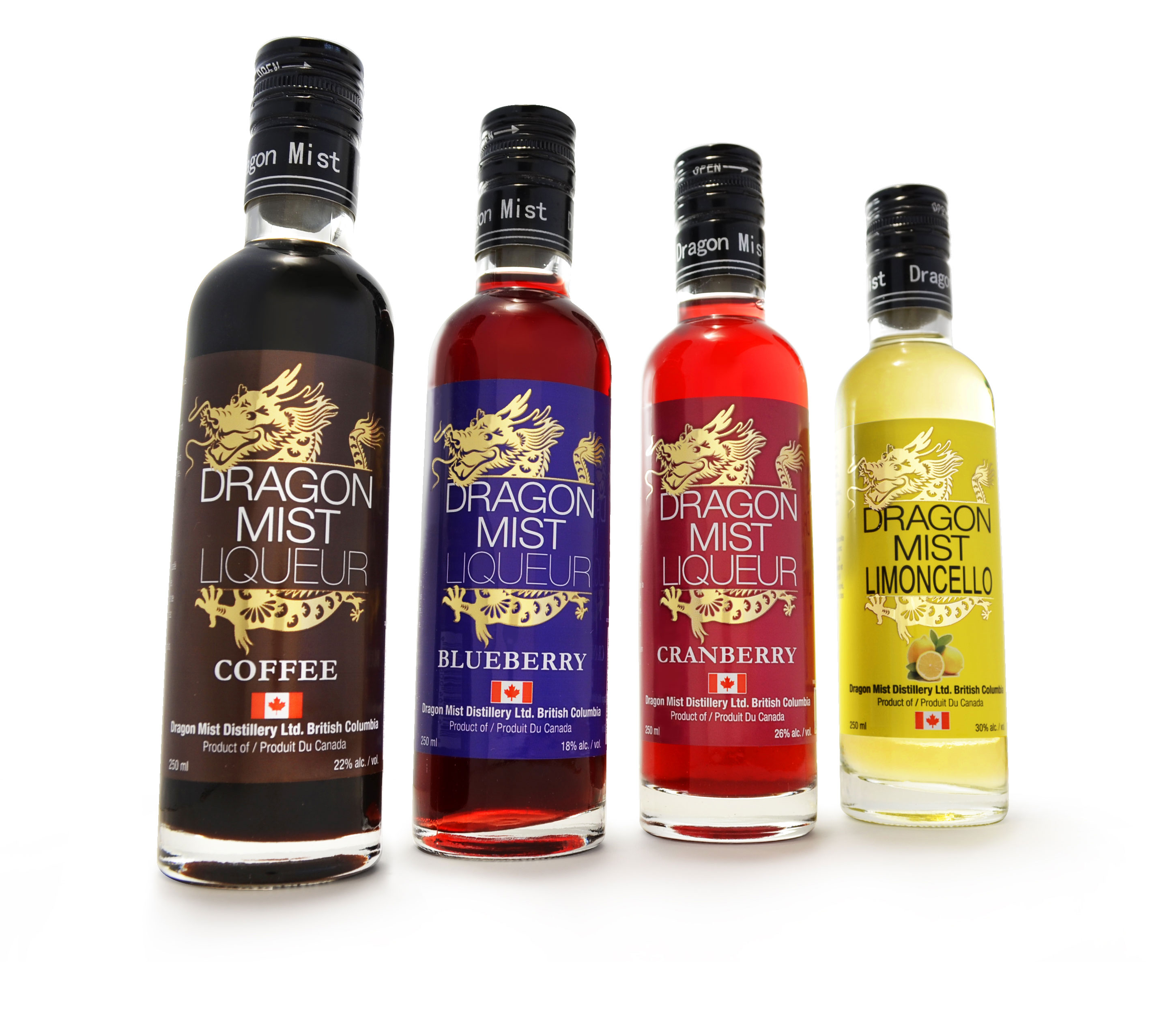 Dragon Mist liqueur sample set of 250 ml bottles of limoncello, coffee liqueur, blueberry liqueur, and cranberry liqueur